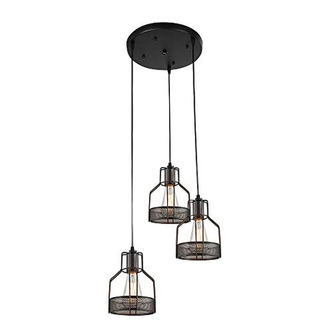 Lingkai Industrial Pendant Light 3-Light Metal Wire Cage Hanging Light Fixture Kitchen Island Light Rustic Chandelier Ceiling Light - llightsdaddy - Lingkai - Island Lights