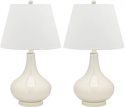 Safavieh Lighting Collection Amy Gourd Glass Table Lamp, Set of 2, White