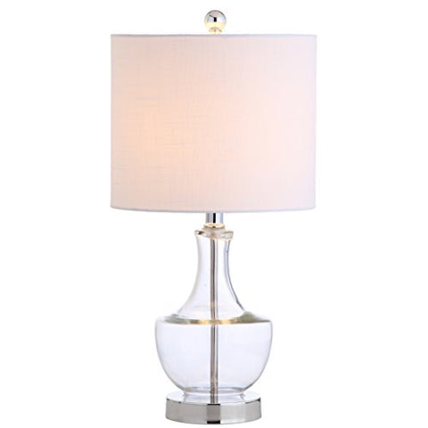 "JONATHAN Y JYL1029A Colette 20"" Mini Glass Table Lamp, Clear"