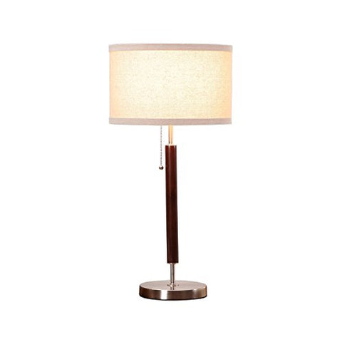 Brightech Carter Led Side Table, Nightstand &Amp; Desk Lamp - Classy Vintage With Stainless Steel Base Soft, Ambient Lighting Perfect For Living Room Office Bedside - Energy Efficient - Wood Finish - llightsdaddy - Brightech - Lights