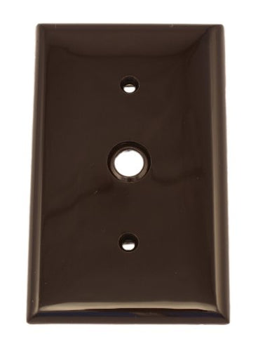 Leviton 80718 1-Gang 0.406 Inch Hole Device Telephone/Cable Wallplate, Standard Size, Thermoplastic Nylon, Strap Mount, Brown - llightsdaddy - Leviton - Wall Plates