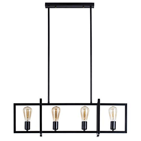 4-Light Kitchen Island Pendant with Matte Black Plated Finish, Geometric Modern Industrial Chandelier for Kitchen Island, Restaurants, Dining Room, Hotels, Foyer, Shops - llightsdaddy - glfang - Island Lights