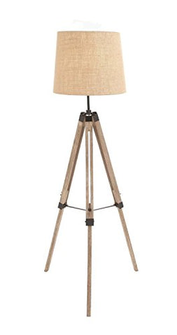 The Elegant Wood Metal Tripod Floor Lamp Natural - llightsdaddy - THORINSTRUMENTS (with device) - Lamp Shades