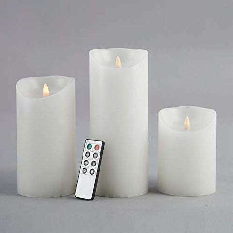 "glowiu Flameless Candles 3D Wick Flickering Pillar Candles 8-Key Remote Multi-Function (White, 3.6x5"") - llightsdaddy - ILAM'Z - Flameless Candles"