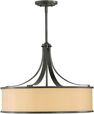"Feiss F2343/4DBZ Casual Luxury Glass Drum Pendant Lighting, Bronze, 4-Light (23""Dia x 18""H) 400watts"