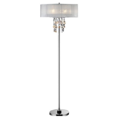 "ORE International K-5136-F1 Moon Jewel Floor Lamp, 20"" x 20"" x 62"", Silver/Ivory - llightsdaddy - ORE - Lamp Shades"