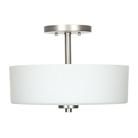 3-Light Brushed Nickel Semi-Flush Mount Light with White Shade