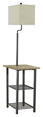 Ashley Furniture Signature Design - Shianne Metal Tray Lamp - Floor Lamp End Table - Black - llightsdaddy - Signature Design by Ashley - Outdoor Floor Lamps