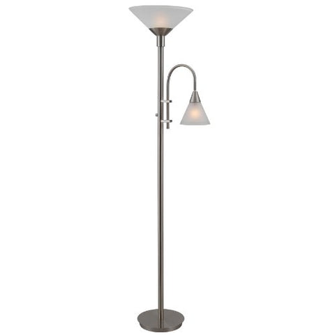 Kenroy Home Brady Torchiere with Reading Arm, Brushed Steel Finish  Kenroy Home Lamp Shades llightsdaddy.myshopify.com lightsdaddy