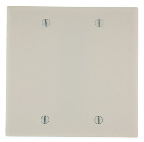 Leviton 78025 000-000 Blank Standard Size Wall Plate, 2 Gang, 4.5 in L X 4.56 in W 0.22 in T, Light, Smooth, Almond - llightsdaddy - Leviton - Lamp Post Mounts