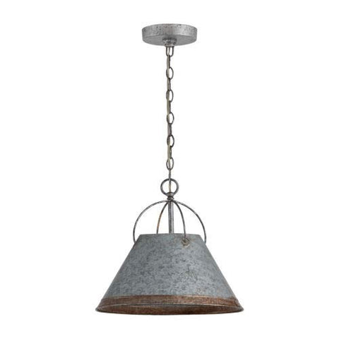 "Austin Allen & Co 9E363A Alvin - 13.75"" One Light Pendant, Antique Galvanized Finish"