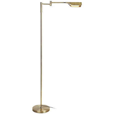 Brightech Leaf - Bright Led Floor Lamp For Reading, Crafts &Amp; Precise Tasks - Standing Modern Pharmacy Light For Living Room, Sewing - Great By Office Desks &Amp; Tables - Antique Brass - llightsdaddy - Brightech - Floor Lamps