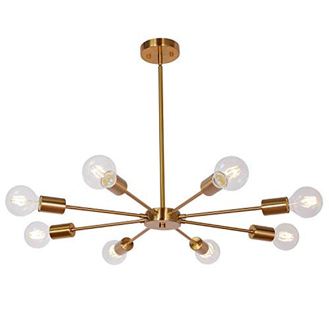 Sputnik Chandelier Brass 8 Lights, Semi Flush Mount Ceiling Light Mid Century Modern Pendant Light for Foyer Dining Room Bedroom Restaurant UL Listed by MELUCEE - llightsdaddy - MELUCEE - Chandeliers