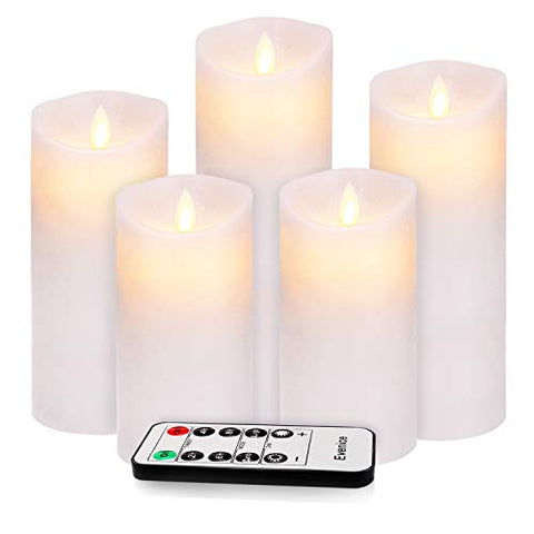 Flameless Candles Flickering LED Candles Water Ripple Pillar Candles Flame Remote Candles Battery Wax Decorative with Timer and 10-Key White Set of 5 - llightsdaddy - Evenice - Flameless Candles