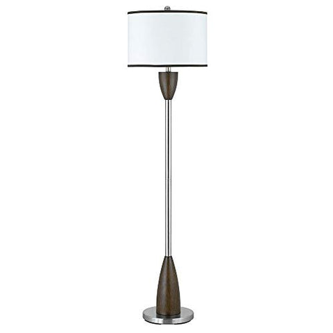 "Cal 60"" Tall Floor Lamp in Brushed Steel/Espresso Finish 100W/Brushed Steel/Wood/Fabric/Round Hardback/Espresso/Brushed Steel/Hospitality Contract Lighting"