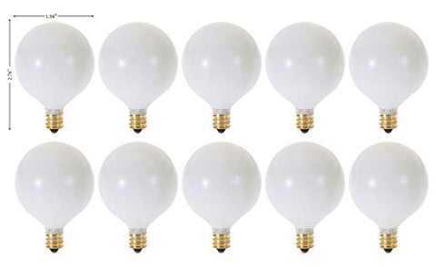 (Pack of 10) G16.5 Decorative (E12) Candelabra Base Globe Shape 120V G16 1/2 Light Bulbs (White, 60 Watt) - llightsdaddy - KOR - Incandescent Bulbs