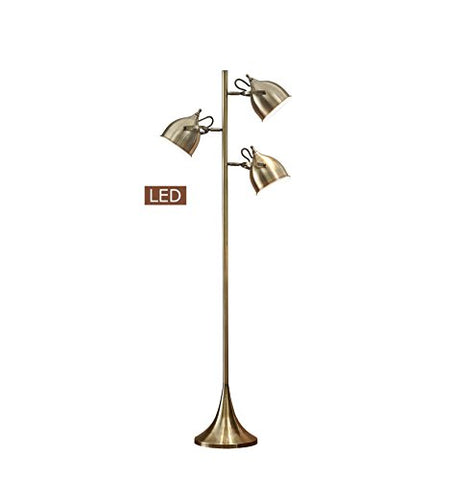 Artiva USA LED9938FAB Caprice LED Floor Lamp, Antique Satin Brass - llightsdaddy - Artiva USA - Lamp Shades