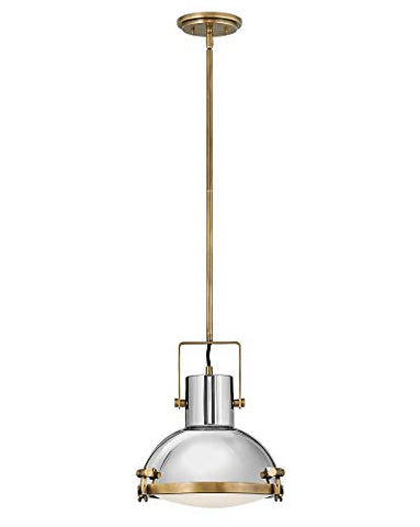 Hinkley 49067HB Nautique - One Light Medium Pendant, Heritage Brass/Polished Nickel Finish with Etched Opal Glass