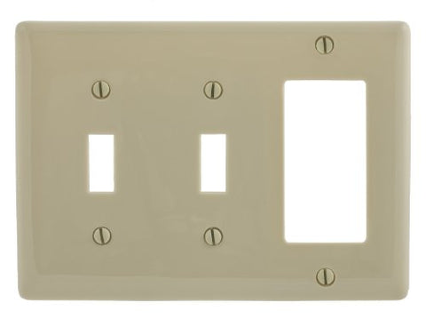 Bryant Electric NPJ226I Wallplate, Nylon, Mid-Sized, 3-Gang, 2 Toggle, 1 Decorator/GFCI, Ivory - llightsdaddy - Bryant Electric - Wall Plates