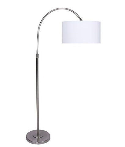 Arched Floor Lamp with Off-White Linen Shade, Tall Modern Lamp, Classic Towering Floor Lamp with Drum Shade, Contemporary and Mid-Century Decor, Grandview Gallery (Brushed Nickel)