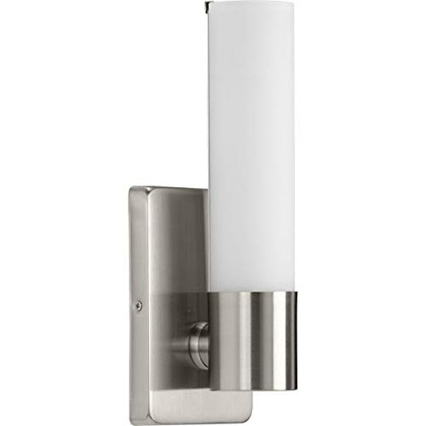 Brushed Nickel One-Light Led Wall Bracket with an Etched White Glass Shade. (P710047-009-30)