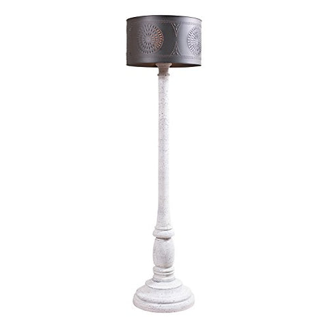 Brinton Floor Lamp in Farmhouse White with Shade - llightsdaddy - Irvin's Country Tinware - Lamp Shades