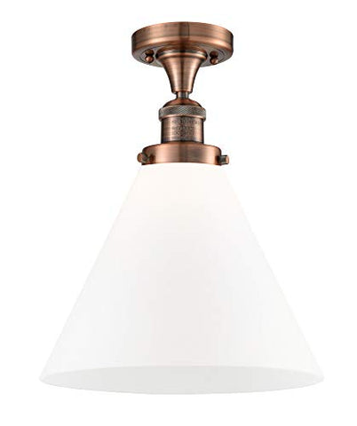 Innovations 517-1CH-AC-G41-L X-Large Cone 1 Light Semi-Flush Mount Part of The Franklin Restoration Collection, Antique Copper