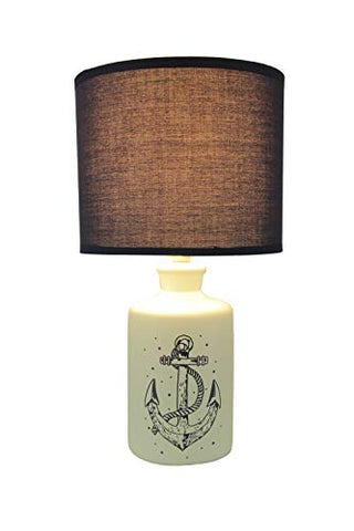 White and Navy Blue Ceramic Nautical Anchor Table Lamp with Fabric Shade