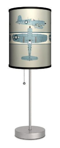 Transportation - Corsair in Three Sport Silver Lamp - llightsdaddy - Lamp-In-A-Box - Lamp Shades