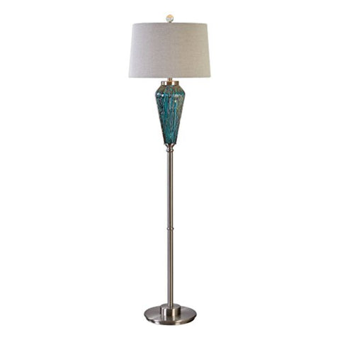 Textured Turquoise Blue Art Glass Floor Lamp | Silver Bronze Contemporary - llightsdaddy - My Swanky Home - Lamps