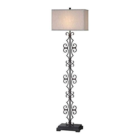 Uttermost 28132 Adelardo - One Light Floor Lamp, Distressed Rust Bronze/Aged Black Finish with Light Beige Linen Fabric Shade - llightsdaddy - Uttermost - Lamps