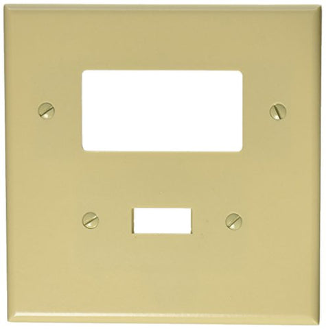 Leviton 86605 2-Gang 1-Toggle 1-Decora/GFCI Device Combination Wallplate, Oversized, Thermoset, Device Mount, Ivory - llightsdaddy - Leviton - Wall Plates