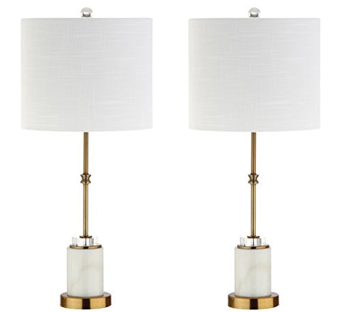 "Harper 27"" Marble/Crystal LED Table Lamp, Brass (Set of 2), Modern, Contemporary, Bulbs Included"