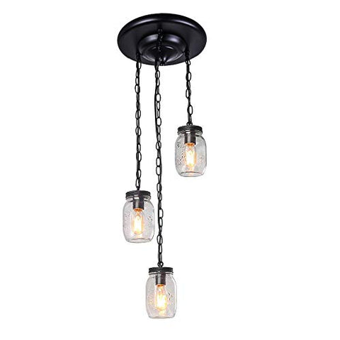 Lingkai 3-Light Chandelier Glass Shade Jar Pendant Light Close to Ceiling Light Modern Kitchen Island Light Fixture - llightsdaddy - Lingkai - Island Lights