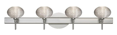 Besa Lighting 4SW-5612GL-SN 4X40W G9 Lasso Wall Sconce with Glitter Glass, Satin Nickel Finish