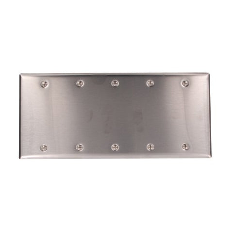 Leviton 84065-40 5-Gang No Device Blank Wallplate, Box Mount, Standard Size, Stainless Steel