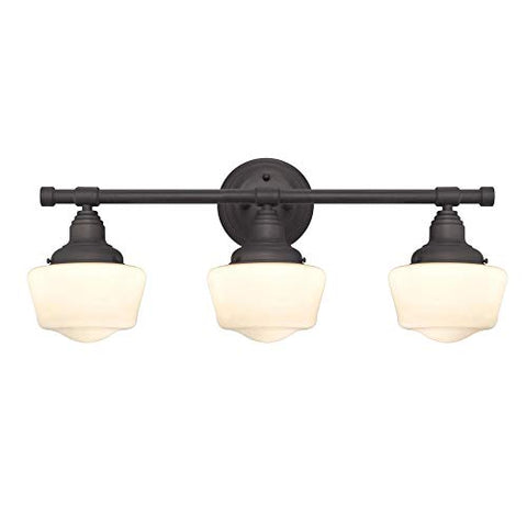 Westinghouse Lighting 6342100 Scholar Three-Light Indoor Wall Fixture, Oil Rubbed Bronze Finish with White Opal Glass