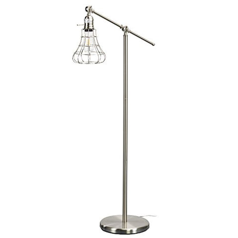 "Furniture HotSpot Bell Shade Edison Floor Lamp - Brushed Nickel - 26.25"" DIA x 52"" H - llightsdaddy - Furniture Hotspot - Lamp Shades"