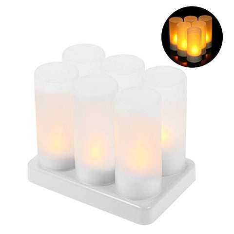 LACGO LED Flameless Candles, Rechargeable Tea Light Candles Lamps with Holders Charging Station for Party Wedding Home Garden Outdoor Indoor Decoration(Pack of 6) - llightsdaddy - LACGO - Flameless Candles