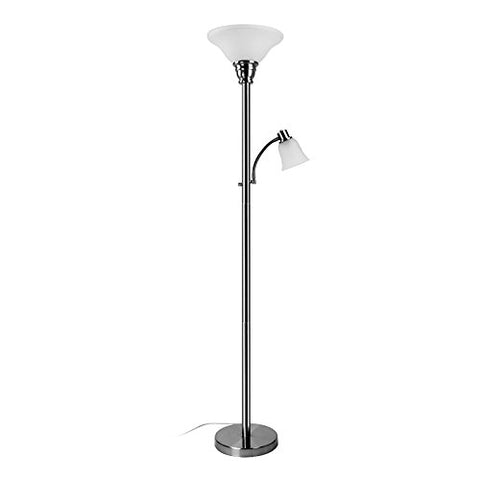 Mother Daughter Floor Lamp DOUBLE Torchiere Floor Uplighting/Reading Lamp, SILVER/BLACK (Silver) - llightsdaddy - BOBOMOMO - Lamp Shades