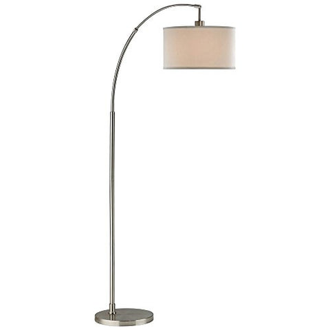 Satin Nickel Arc Floor Lamp with Modern Drum Shade - llightsdaddy - Design Classics - Lamps
