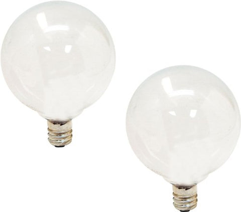 GE Lighting 44414 40-watt 290-Lumen Candelabra Base G16.5 Globe Bulb, Soft White, 2-Pack