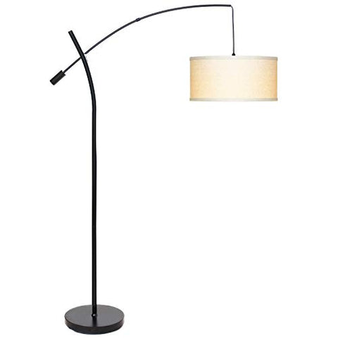 Brightech Grayson LED Arcing Floor Lamp- Tall Pole Standing Light for Living Room Den Office Bedroom Adjustable Arm with Hanging Pendant Shade - Black - llightsdaddy - Brightech - Lamp Shades