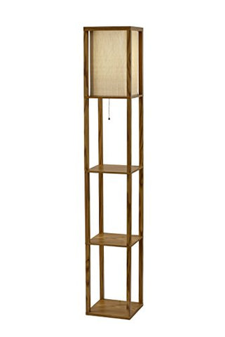 Adesso 3138-12 Wright Shelf Lamp, Natural Wood Veneer on MDF - llightsdaddy - Adesso - Lamp Shades