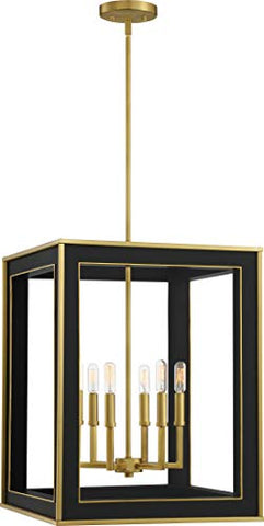 Quoizel BUR5218MBK Burwell Modern Pendant Foyer, 6-Light 360 Watts, Matte Black and Brass