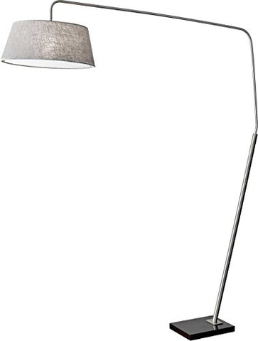 "Adesso 5412-22 Ludlow 85"" Arc Lamp, Satin Steel, Smart Outlet Compatible - llightsdaddy - Adesso - Lamp Shades"