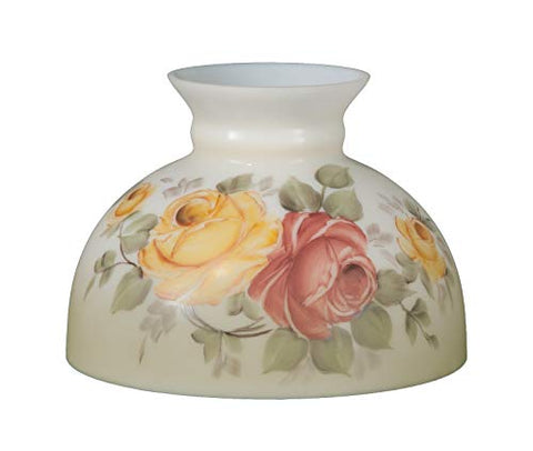 B&P Lamp Opal Glass Student Shade, Victorian Roses Scene - llightsdaddy - B&P Lamp - Fixture Replacement Globes & Shades