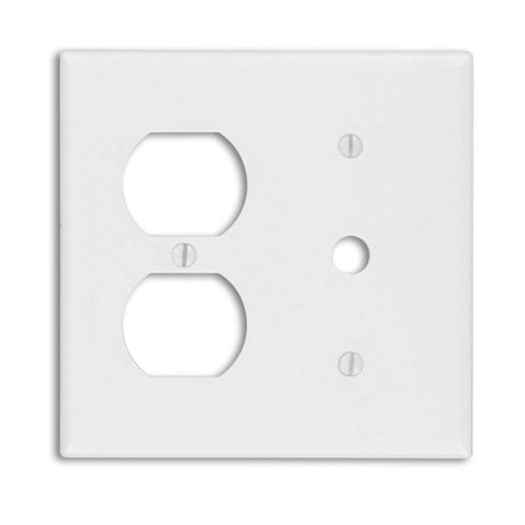 Leviton 88078 2-Gang 1-Duplex 1-Telephone/Cable .406 Device Combination Wallplate, Thermoset, Strap Mount, White - llightsdaddy - Leviton - Lightning Fixtures
