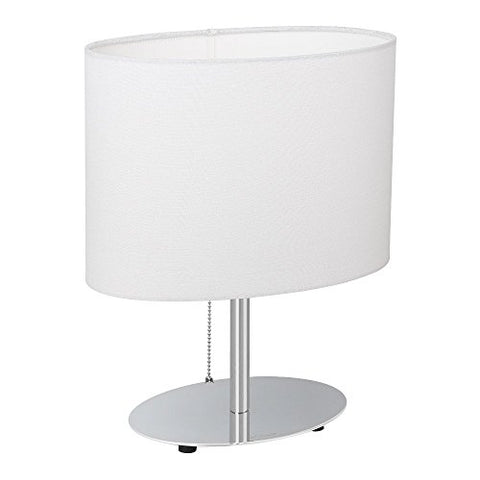 HAITRAL Bedside Table Lamps - Minimalist Desk Lamp with Metal Base Fabric Shade Oval Simple Night Light Lamp for Living Room, Kids Room, Bedroom, Dorm, Office, White - llightsdaddy - HAITRAL - Table Lamp