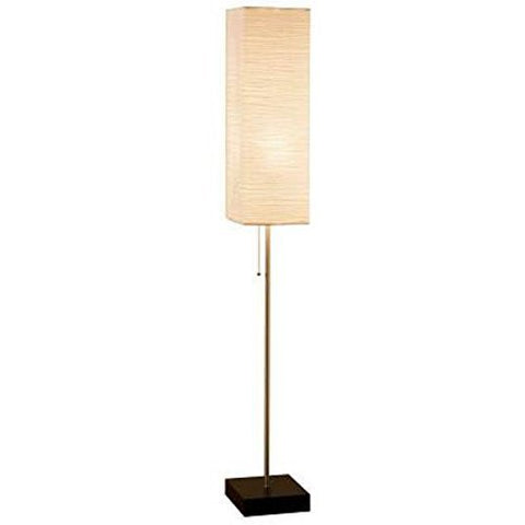 Alsy 60 In. Brushed Nickel Floor Lamp with Paper Shade and Decorative Faux Wood Base - llightsdaddy - ALSY - Outdoor Floor Lamps